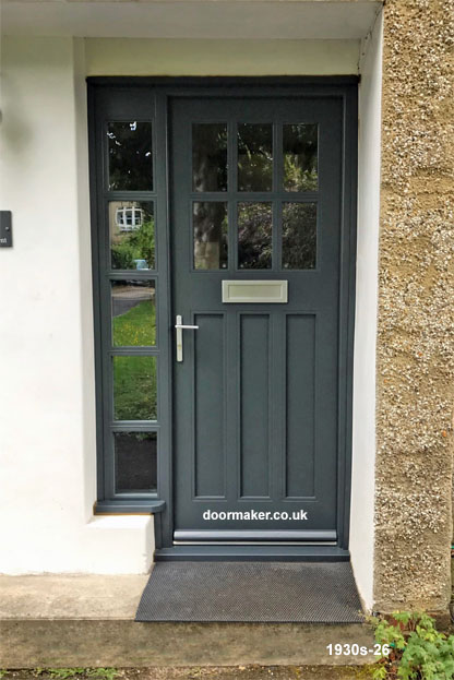 1930s style door and frame ral 7016 anthracite grey