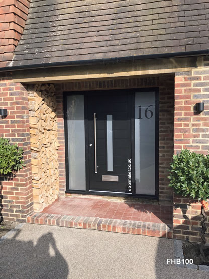 black contemporary  door and frame with sidelights