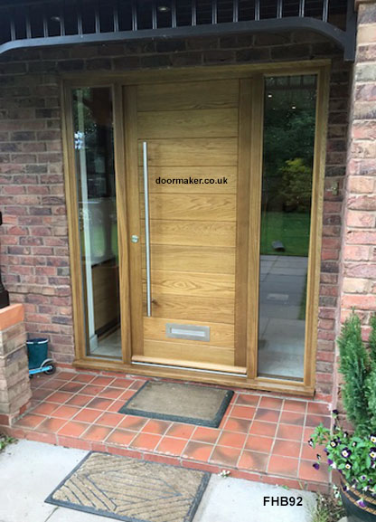 contemporary oak door and frame with sidelights