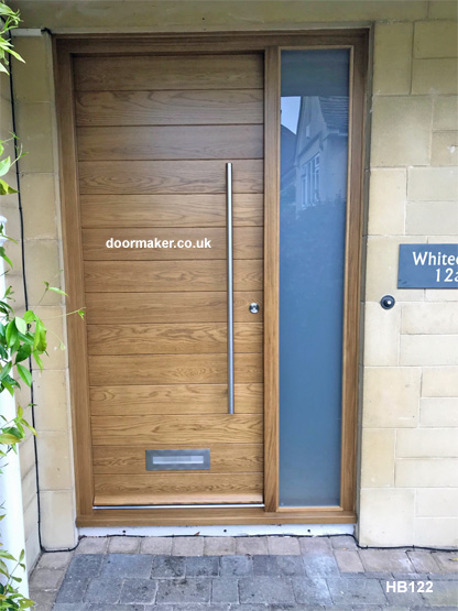 oak contemporary door and frame with sidelight