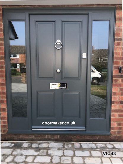 victorian style door and frame with sidelights